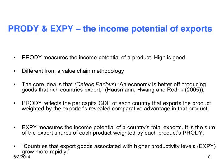 PRODY & EXPY – the income potential of exports
