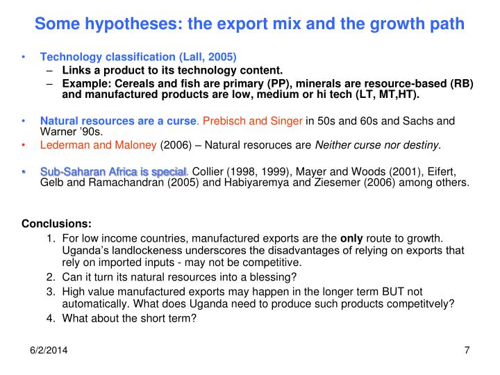 Some hypotheses: the export mix and the growth path