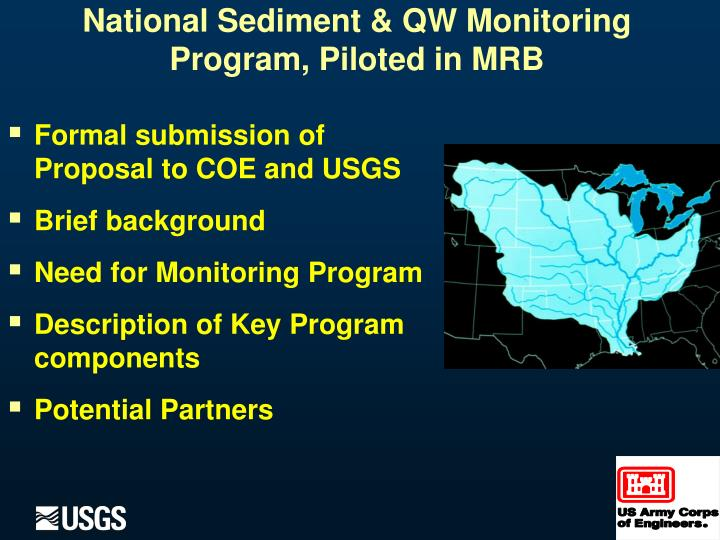 National sediment qw monitoring program piloted in mrb