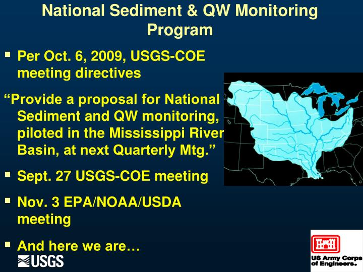 Per Oct. 6, 2009, USGS-COE meeting directives