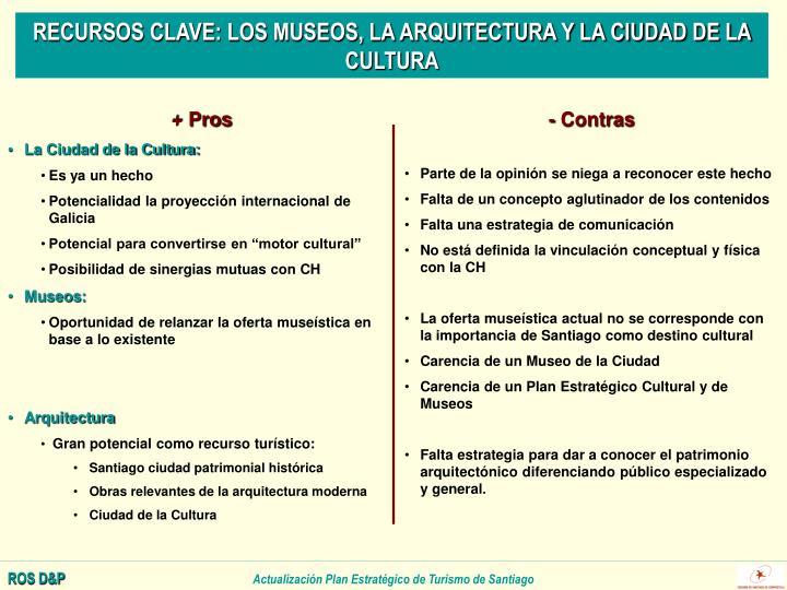RECURSOS CLAVE: LOS MUSEOS, LA ARQUITECTURA Y LA CIUDAD DE LA CULTURA