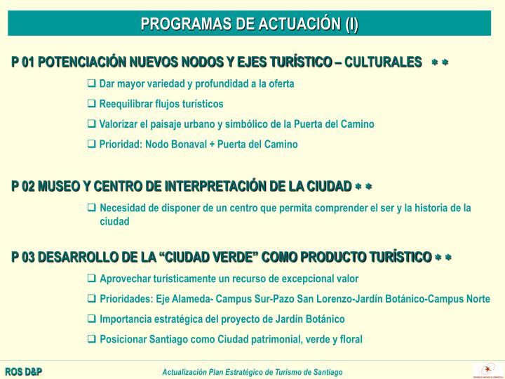 PROGRAMAS DE ACTUACIÓN (I)