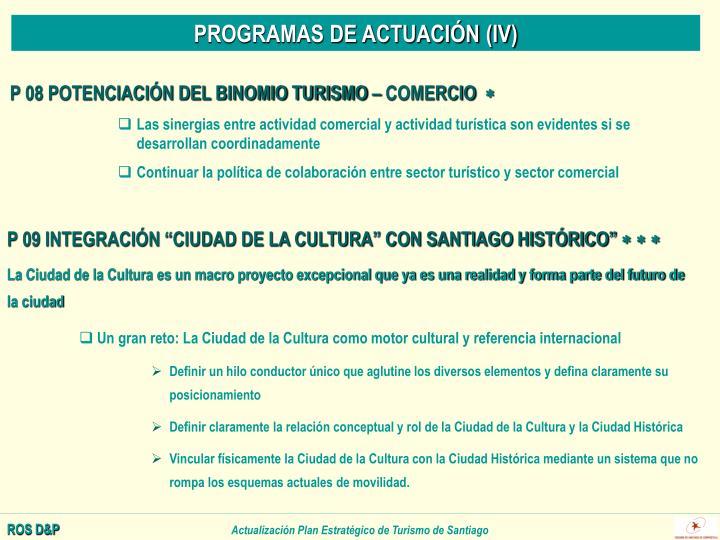 PROGRAMAS DE ACTUACIÓN (IV)