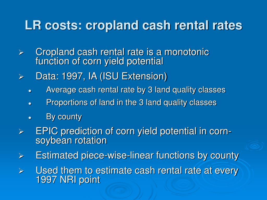 LR costs: cropland cash rental rates