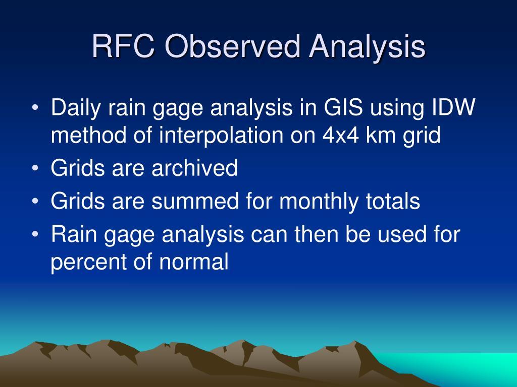 RFC Observed Analysis