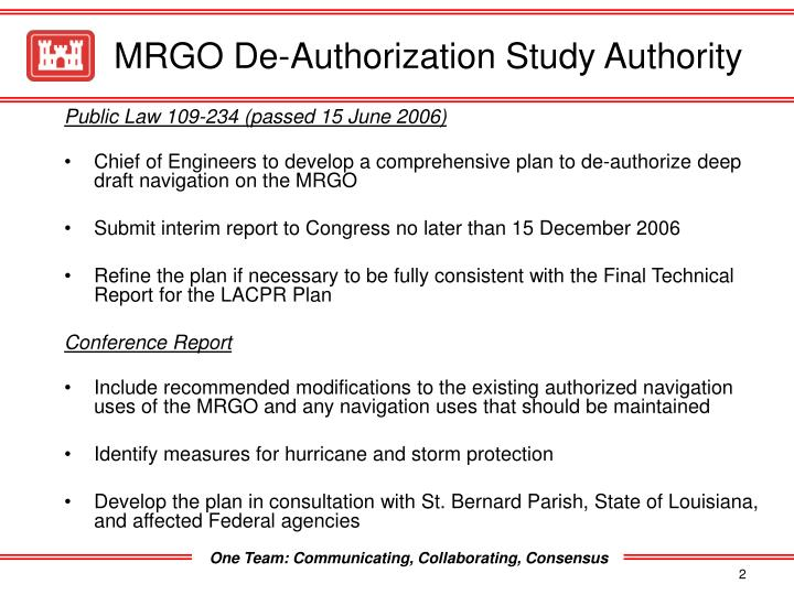 Mrgo de authorization study authority
