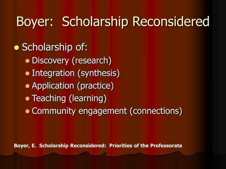 Boyer:  Scholarship Reconsidered