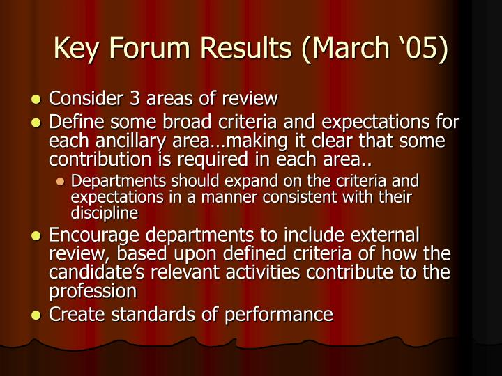Key Forum Results (March '05)