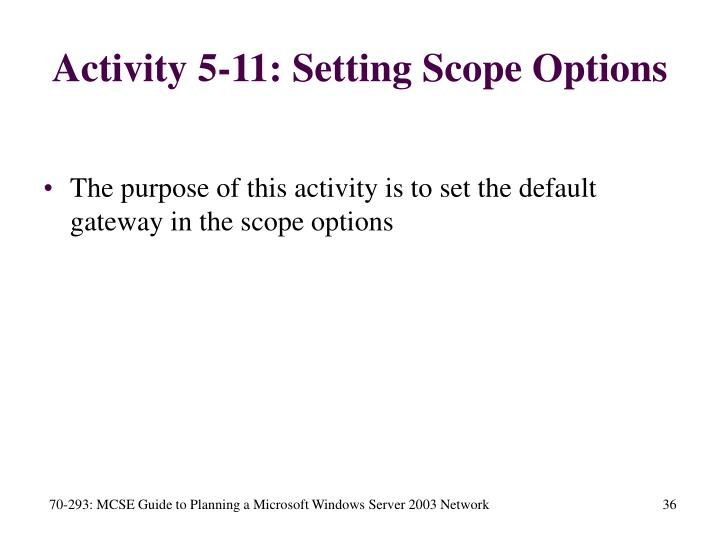 Activity 5-11: Setting Scope Options