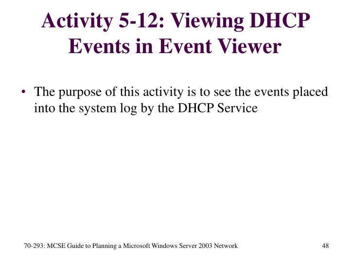Activity 5-12: Viewing DHCP Events in Event Viewer