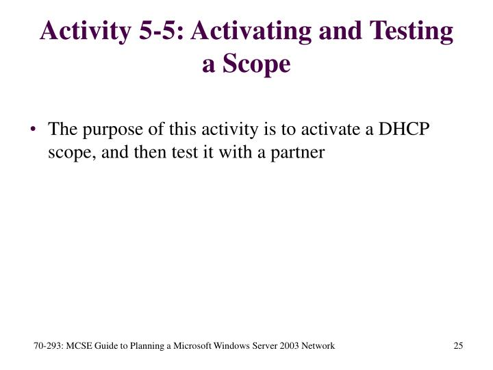 Activity 5-5: Activating and Testing a Scope