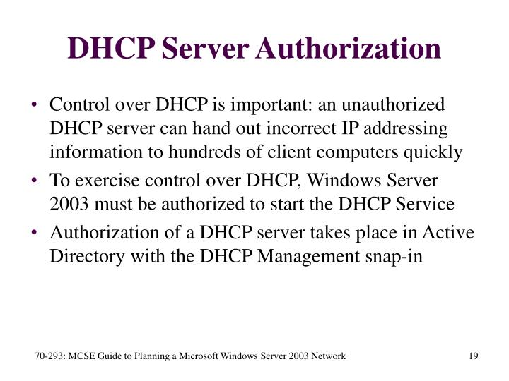 DHCP Server Authorization