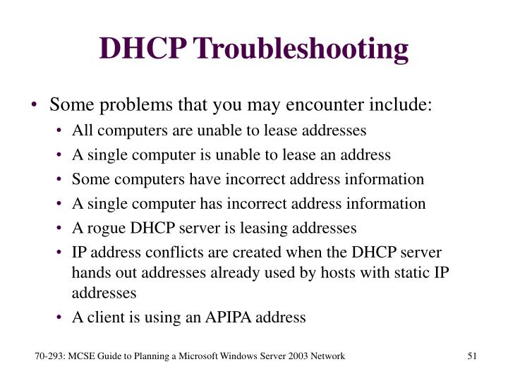 DHCP Troubleshooting