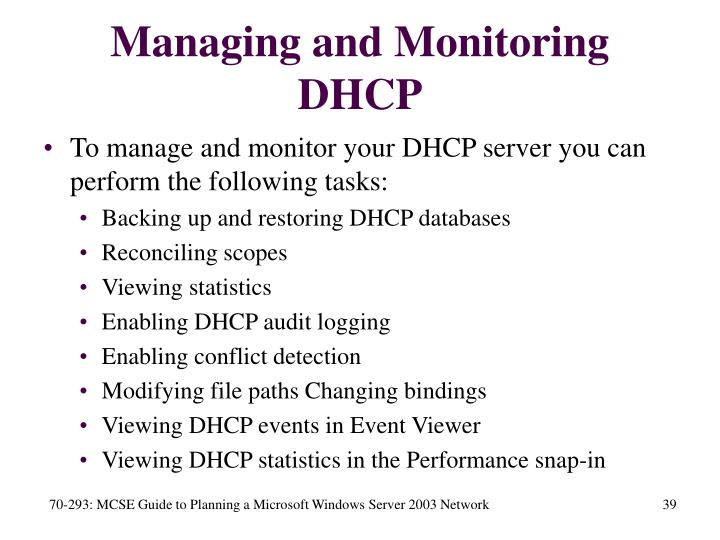 Managing and Monitoring DHCP
