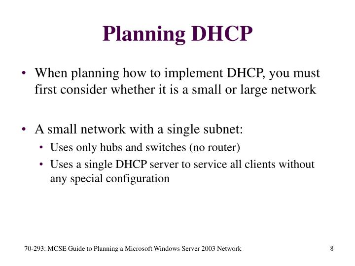 Planning DHCP
