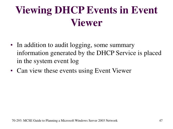 Viewing DHCP Events in Event Viewer
