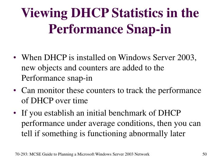 Viewing DHCP Statistics in the Performance Snap-in