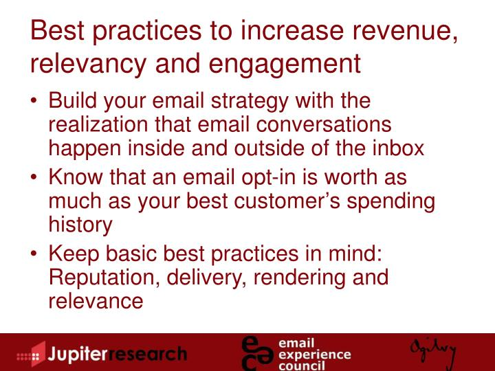 Best practices to increase revenue, relevancy and engagement