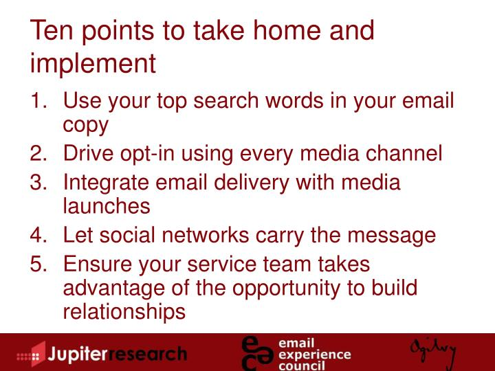 Ten points to take home and implement