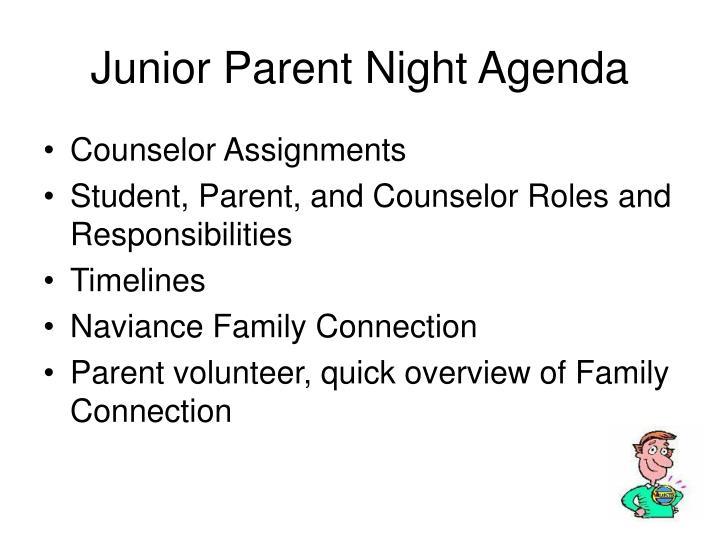 Junior Parent Night Agenda