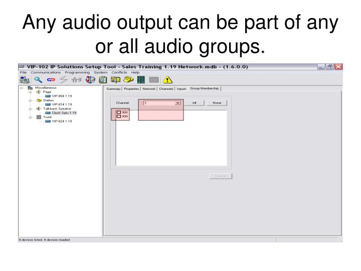 Any audio output can be part of any or all audio groups.