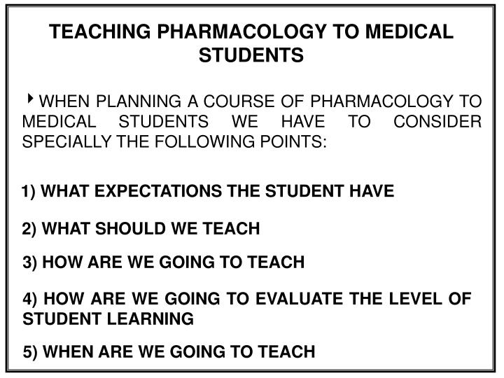 TEACHING PHARMACOLOGY TO MEDICAL STUDENTS