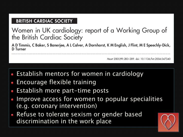 Establish mentors for women in cardiology