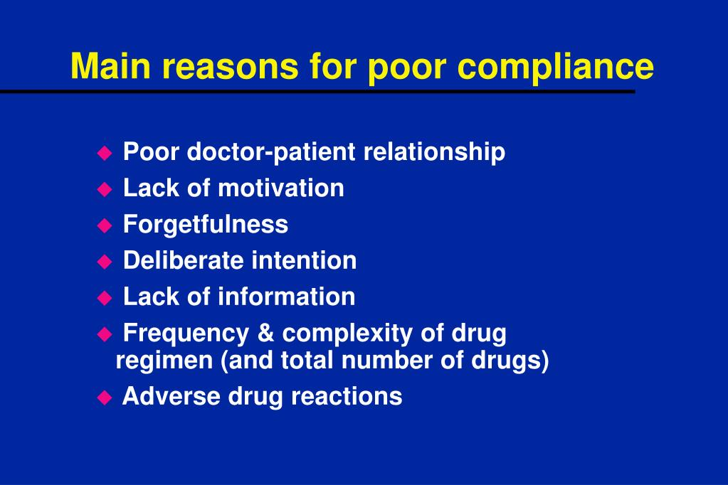 Main reasons for poor compliance