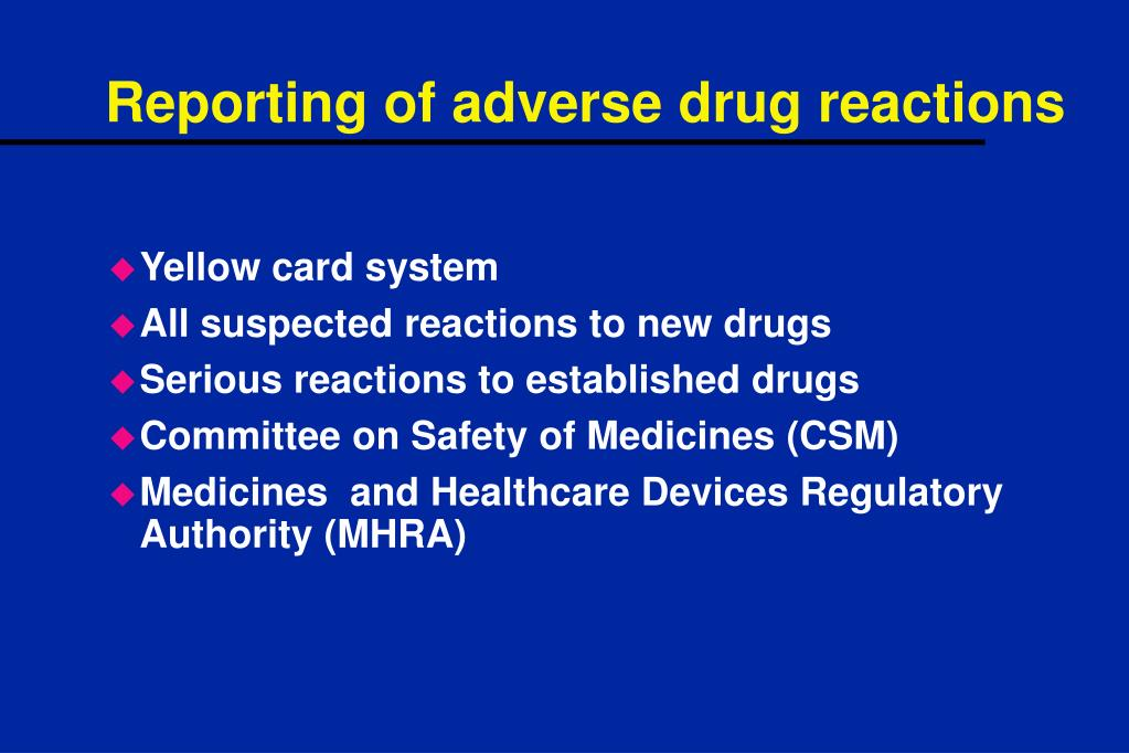 Reporting of adverse drug reactions