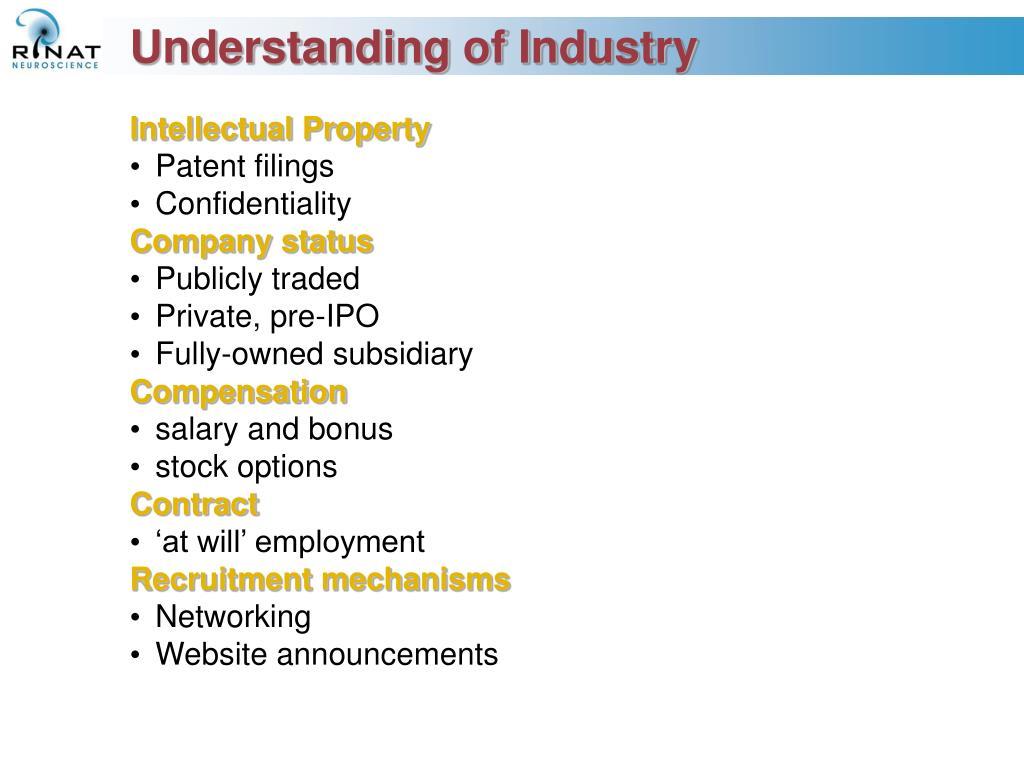 Understanding of Industry