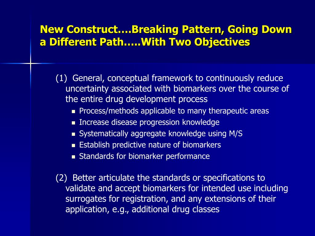 New Construct….Breaking Pattern, Going Down a Different Path…..With Two Objectives