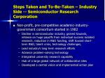 steps taken and to be taken industry side semiconductor research corporation