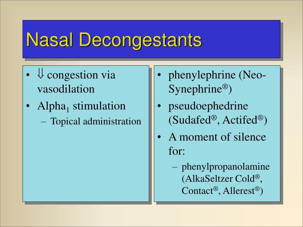  congestion via vasodilation