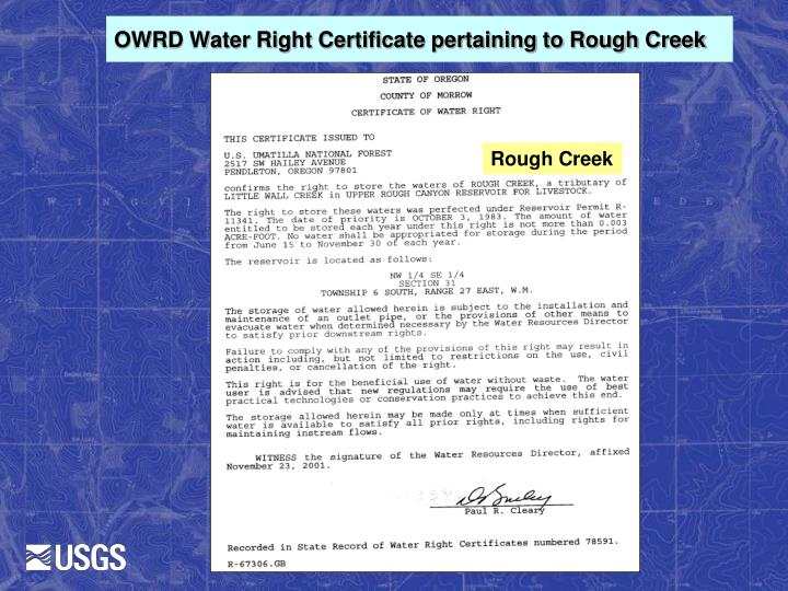 OWRD Water Right Certificate pertaining to Rough Creek