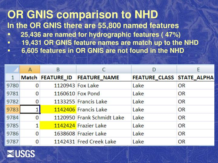 OR GNIS comparison to NHD