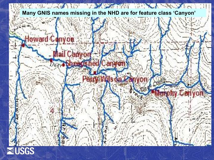 Many GNIS names missing in the NHD are for feature class 'Canyon'