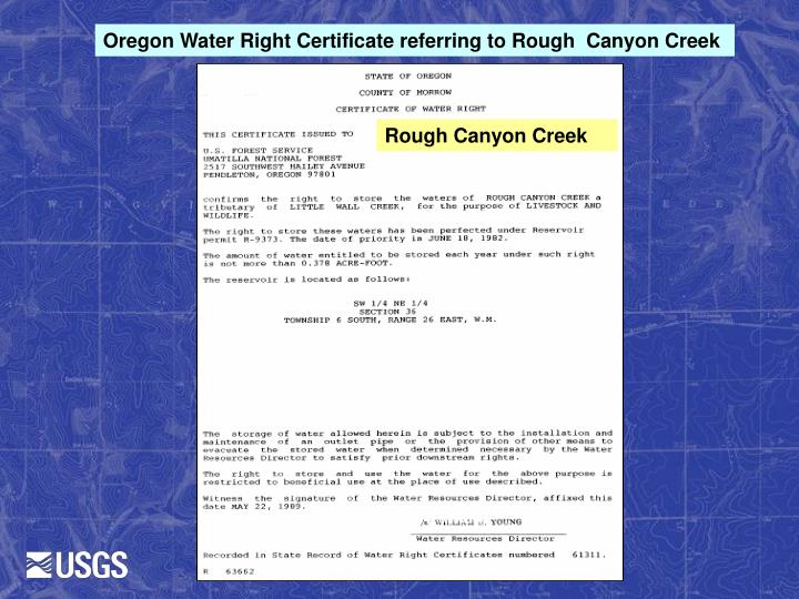 Oregon Water Right Certificate referring to Rough  Canyon Creek
