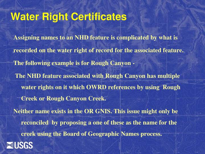 Water Right Certificates