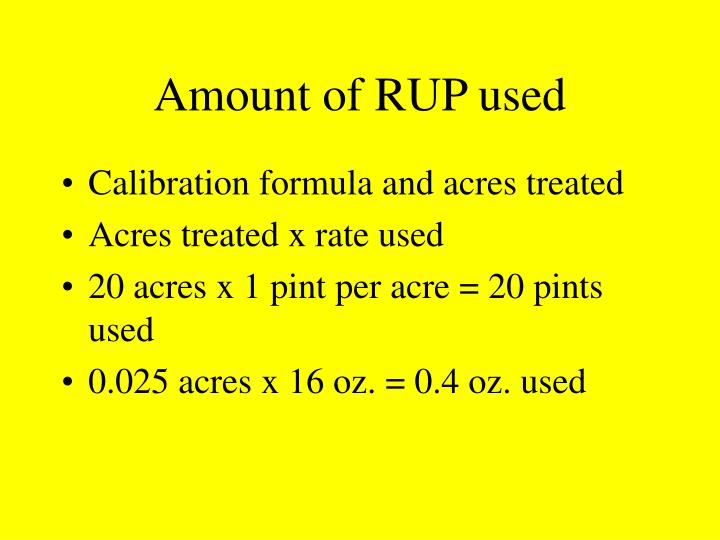 Amount of RUP used