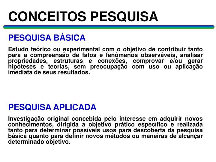 CONCEITOS PESQUISA