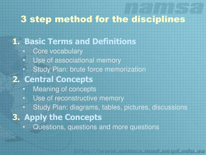 3 step method for the disciplines
