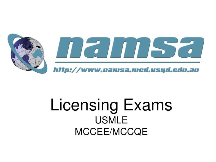 Licensing exams usmle mccee mccqe