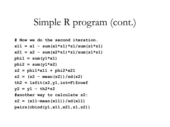 Simple R program (cont.)