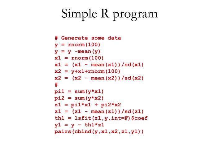 Simple R program