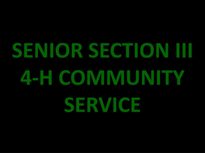 SENIOR SECTION III