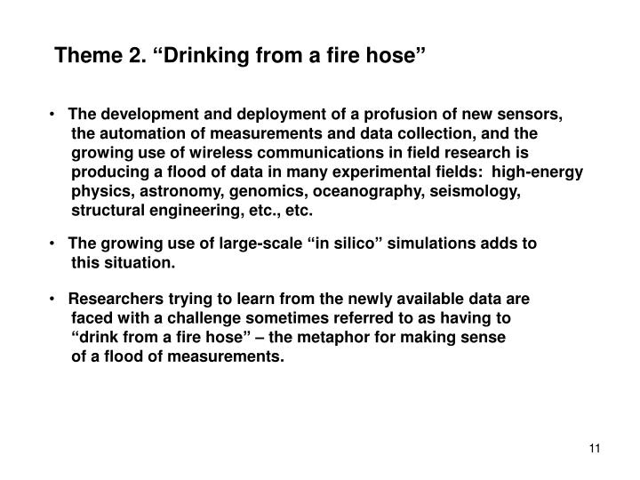 "Theme 2. ""Drinking from a fire hose"""