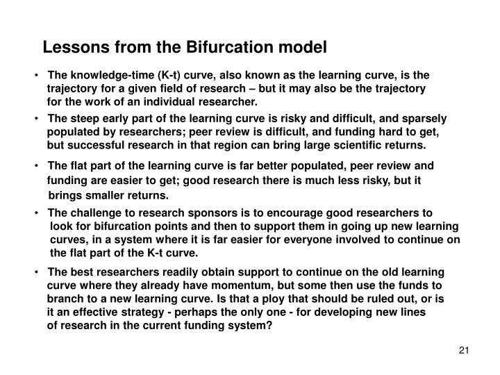 Lessons from the Bifurcation model