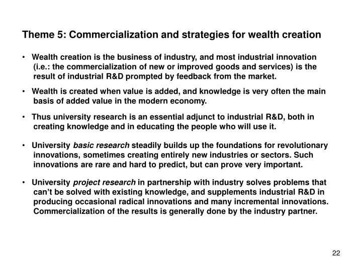 Theme 5: Commercialization and strategies for wealth creation