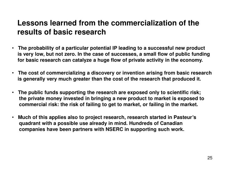 Lessons learned from the commercialization of the