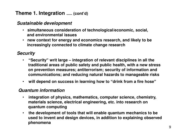 Theme 1. Integration